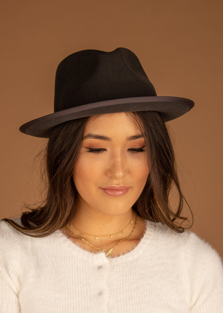 Slade Fedora w/Trim Grey