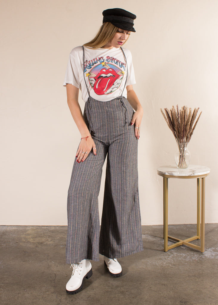 Jordan Wide Leg Suspender Jumpsuit - Rainbow Stripe