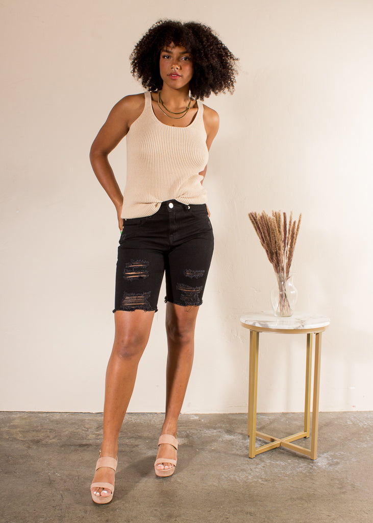 Distressed Denim Bermuda Shorts - Black