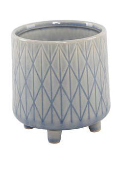 Diamond Line Ceramic Planter with Legs