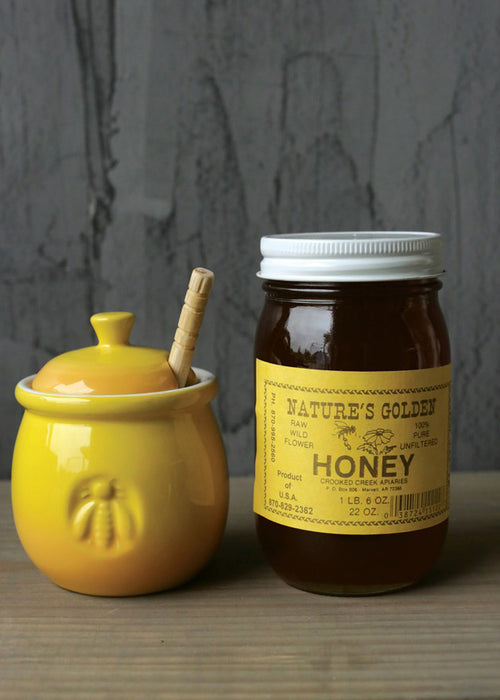 Little Yellow Honey Pot with/ Dipper
