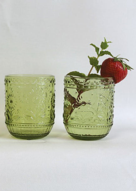 Green Embossed Drinking Glass