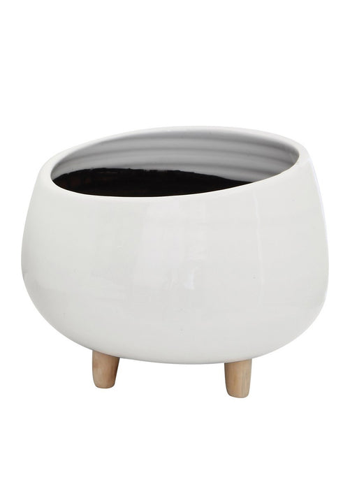 Glossy White Footed Planter