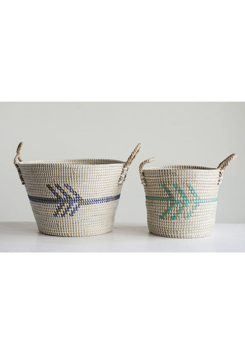Arrow Seagrass Basket with Handles