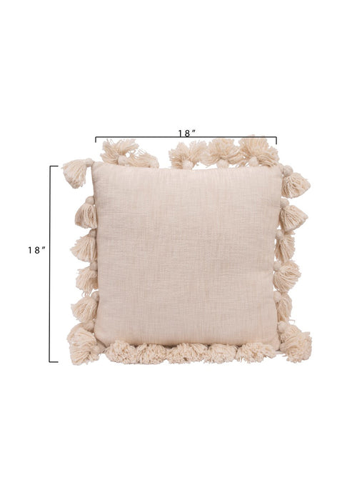 "18"" Square Cotton Woven Pillow - White"