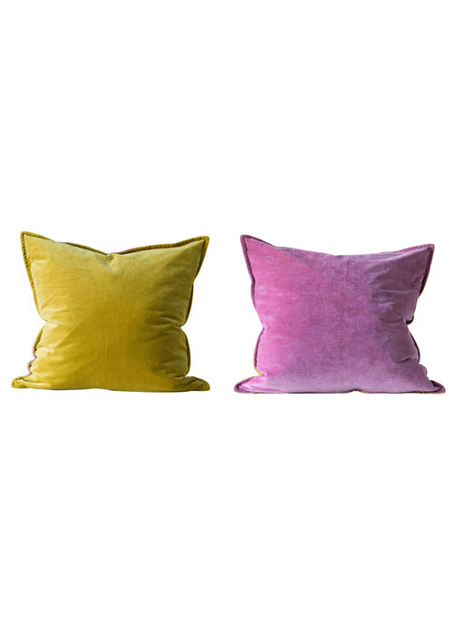 Lemon Rose Velvet Pillow