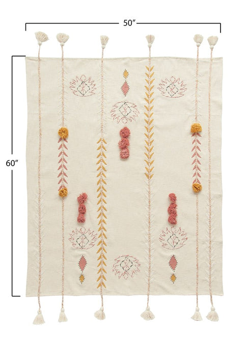 Cotton Embroidered Pom Tassel  Throw - Ivory & Mustard