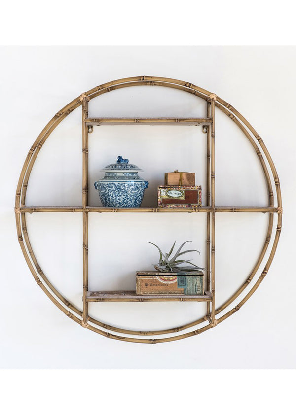 Bamboo Style Metal Circle Shelf