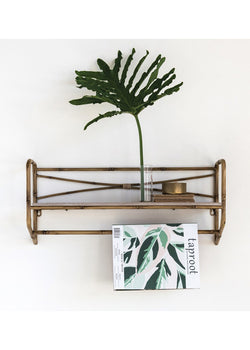 Metal Bamboo-Style Wall Shelf w/ Towel Rack