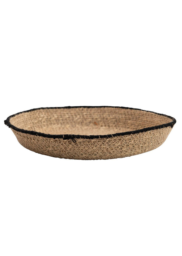 Handwoven Natural Seagrass Tray with Black Stitching