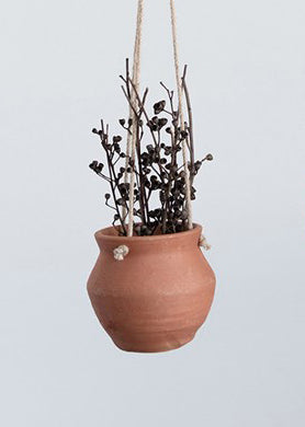 "5.75"" Hanging Terra-cotta Planter with Jute Rope"