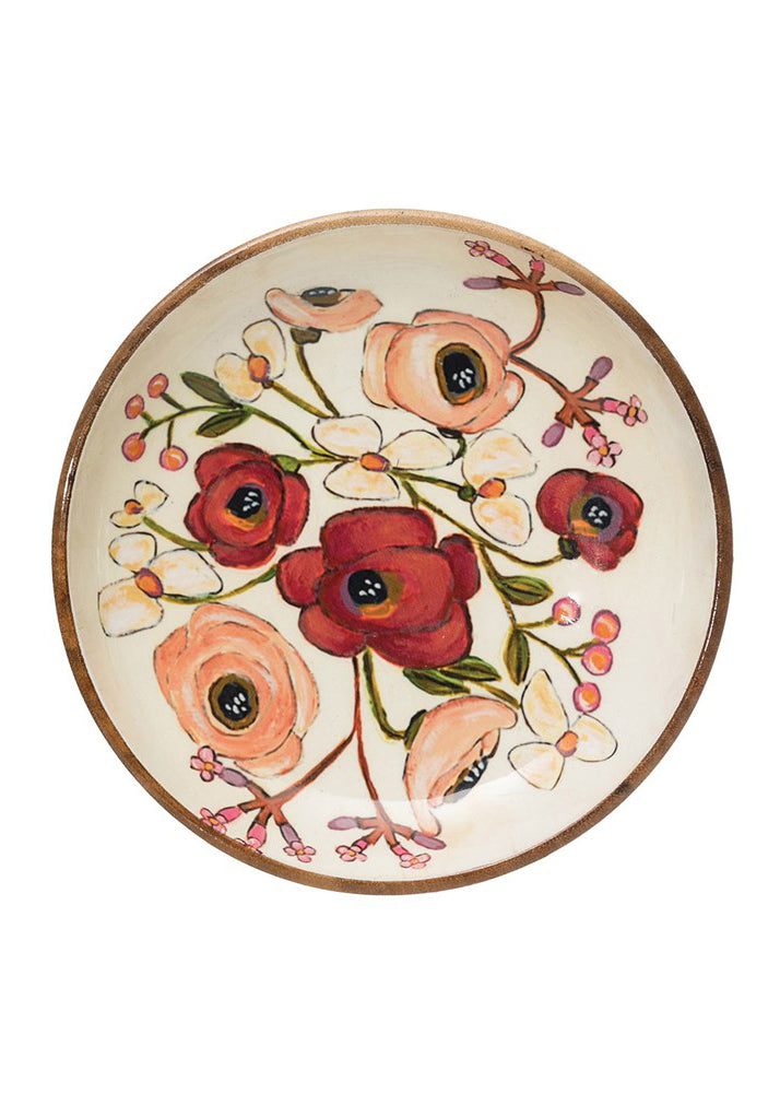 Acacia Wood Bowl with Enamel Flowers
