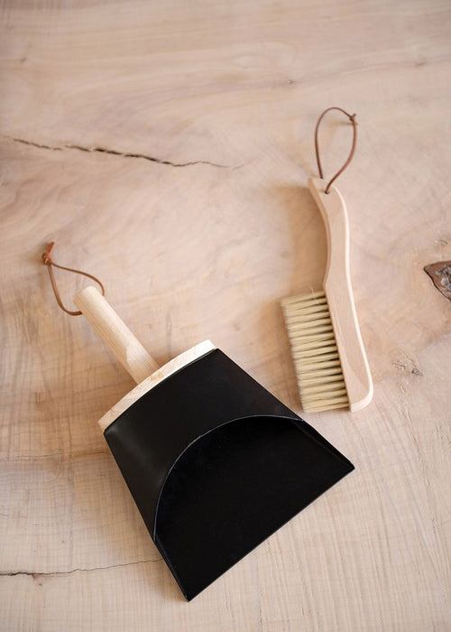 Beech Wood Brush & Metal Dust Pan with Leather Strap Set
