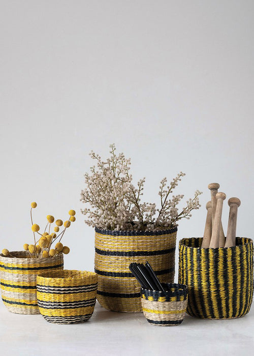 Black & Yellow Seagrass Basket - Extra Small
