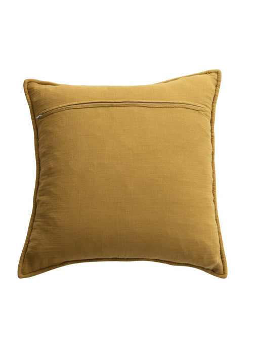 Mustard Quilted Cotton Chenille Pillow
