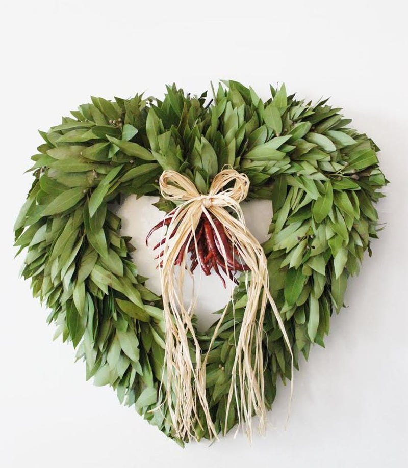 Bay Laurel & Chili Heart Wreath w/ Raffia Bow