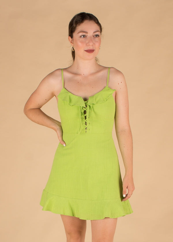 Sour Punch Lime Lace Up Dress