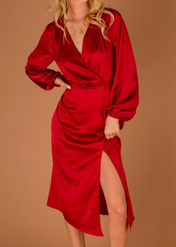 Emilia Long Sleeve Dress Red