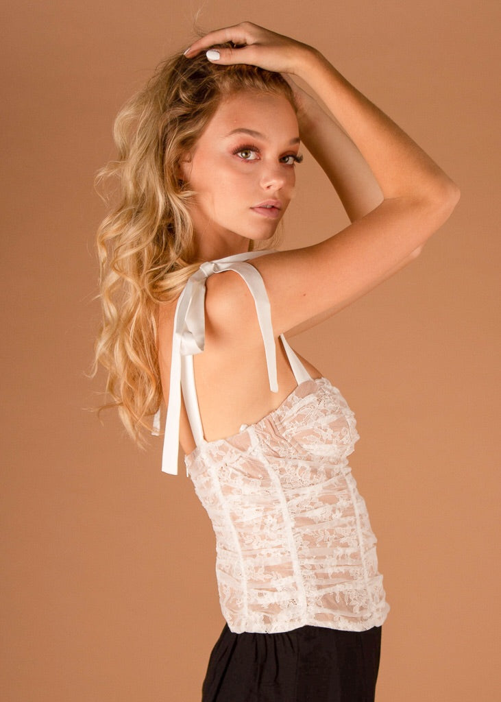 Dolly Bustier Top White Lace