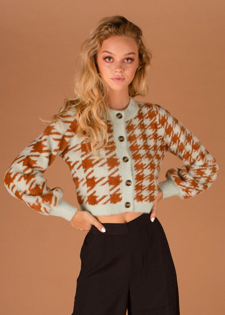 Cher Houndstooth Cardigan Toffee