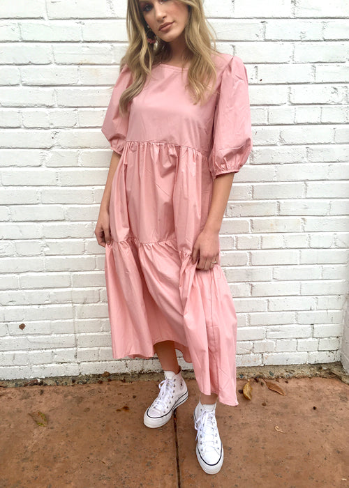 Peach Poplin Ruffle Dress