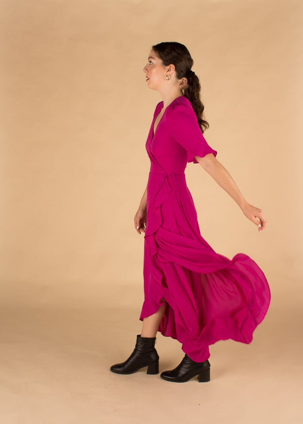 Dragon Fruit Wrap Dress