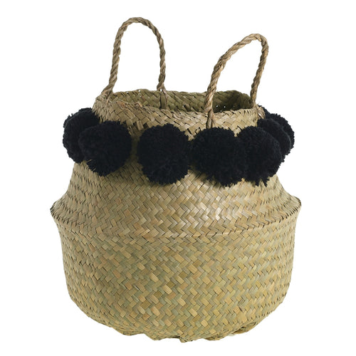 Pom Puff Basket - Black