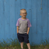 Raglan Tee in Purple & Grey - Poetic Kids - 2