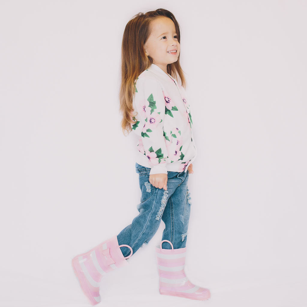 Floral Jacket in White - Poetic Kids - 2