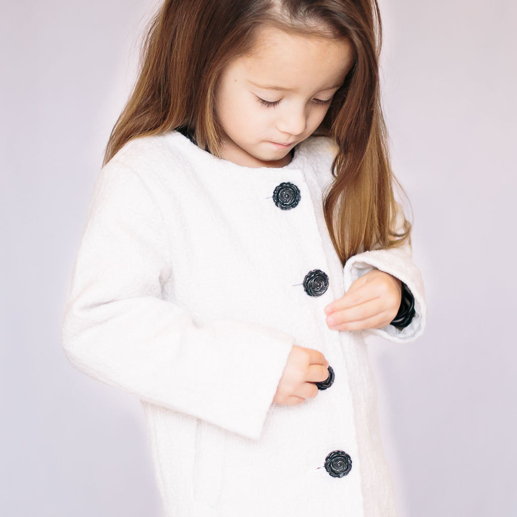 Collarless Ivory Coat - Poetic Kids - 2