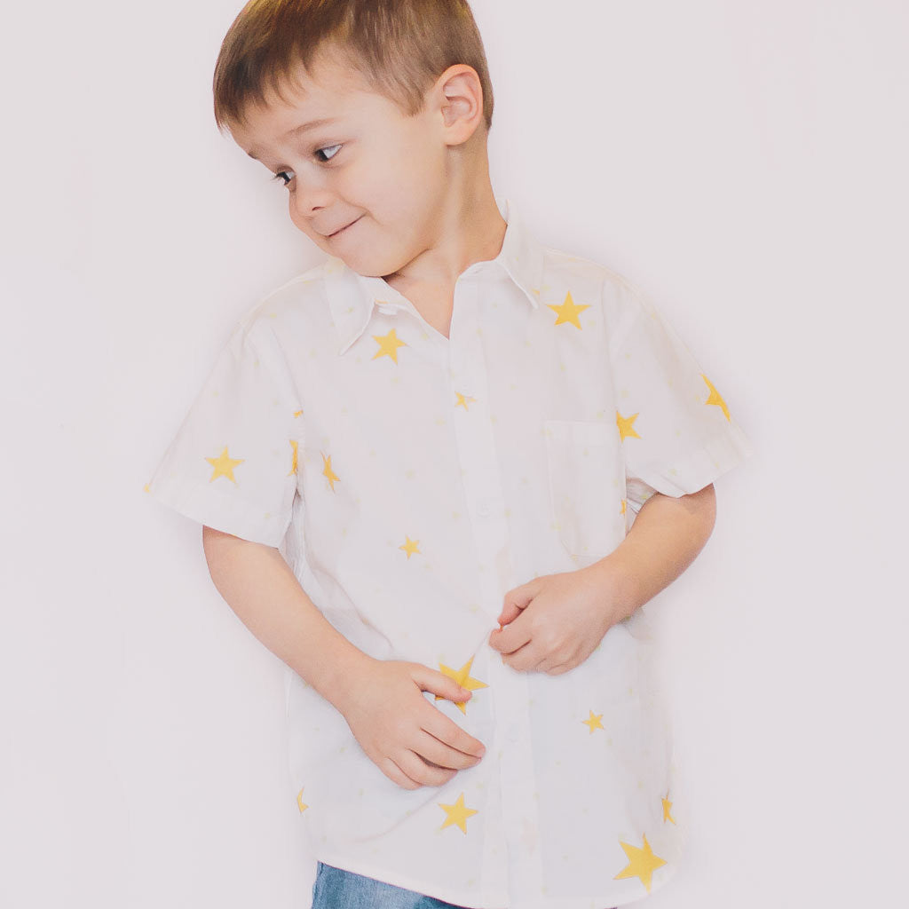 Star Short-Sleeve Button Down - Poetic Kids - 3