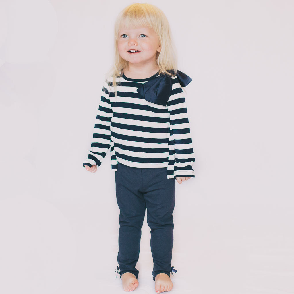 Lace-Back Long Sleeve in Navy - Poetic Kids - 2