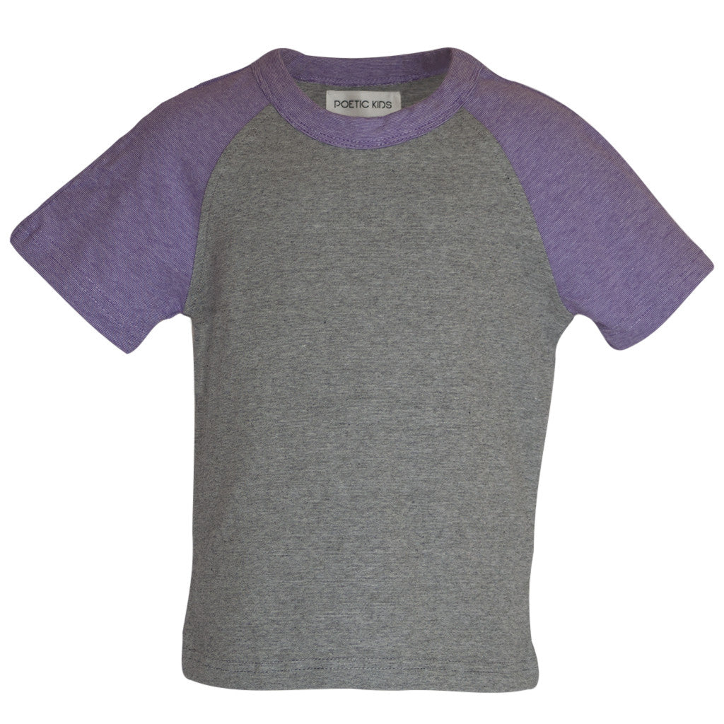 Raglan Tee in Purple & Grey - Poetic Kids - 1