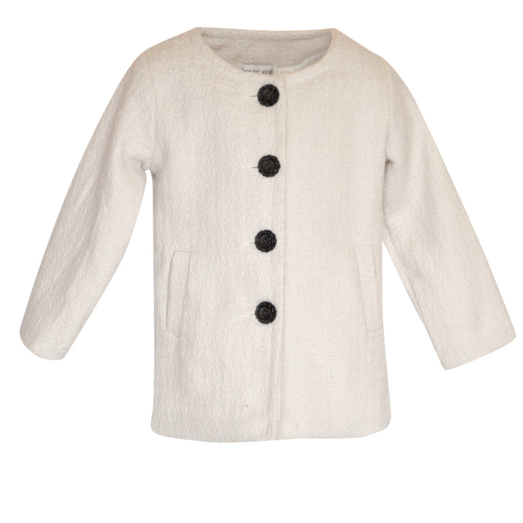 Collarless Ivory Coat - Poetic Kids - 1