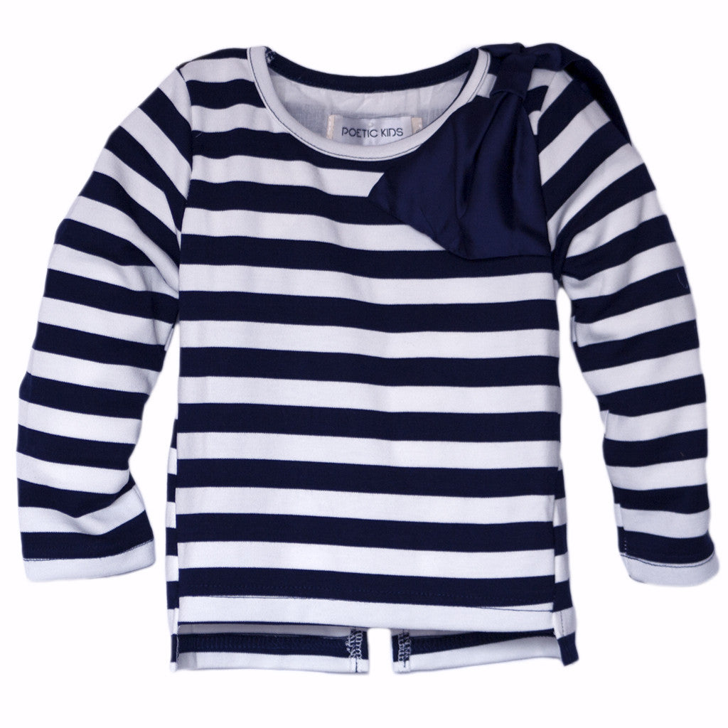 Lace-Back Long Sleeve in Navy - Poetic Kids - 3