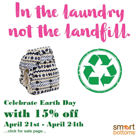 earth day sales at hop scotch children's store on smart bottoms and best bottom diapers