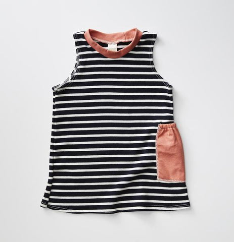 Treetops Collective Sleeveless Pocket Tunic - Navy & Natural Stripe w/ Coral Pocket
