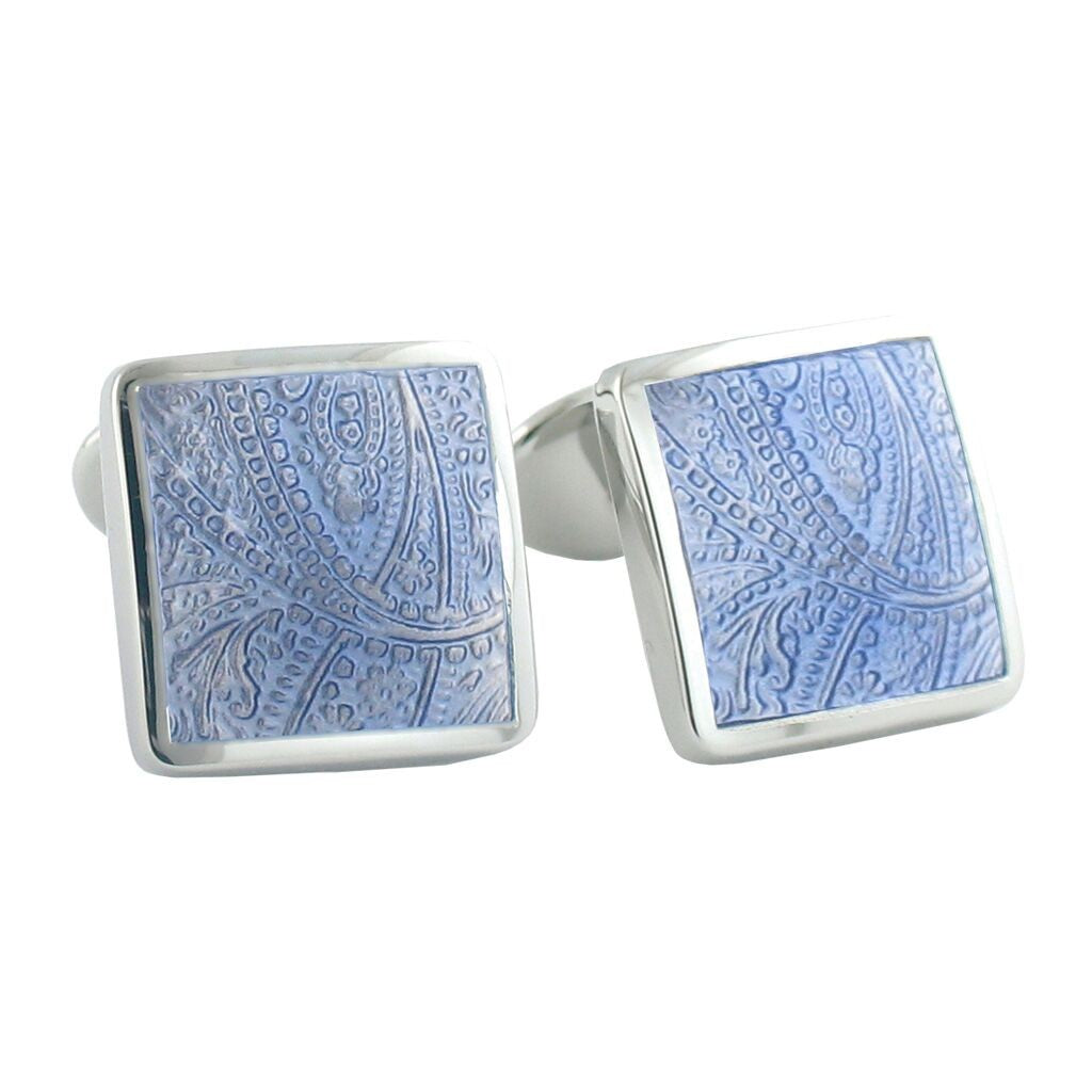 David Donahue Men's Sterling Silver Light Blue Paisley Cufflinks (CL029802)