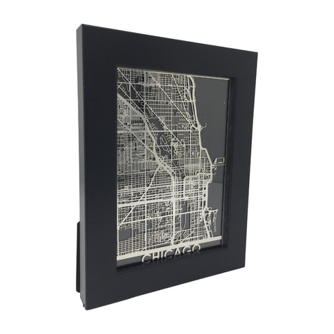"Precision Laser Cut Stainless Steel 5""x7"" Framed City Map"