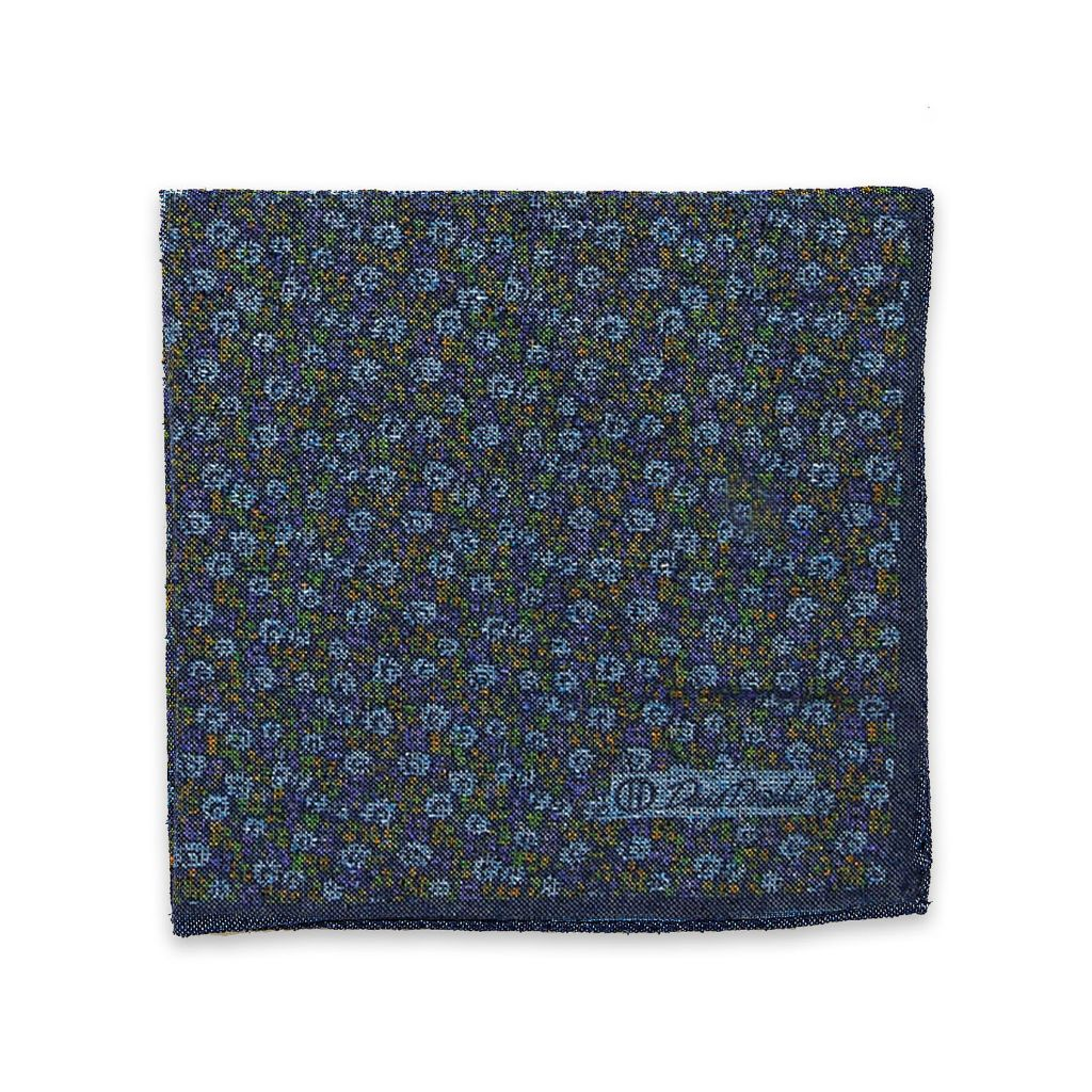 David Donahue Mens Silk Double Sided Floral Pocket Square