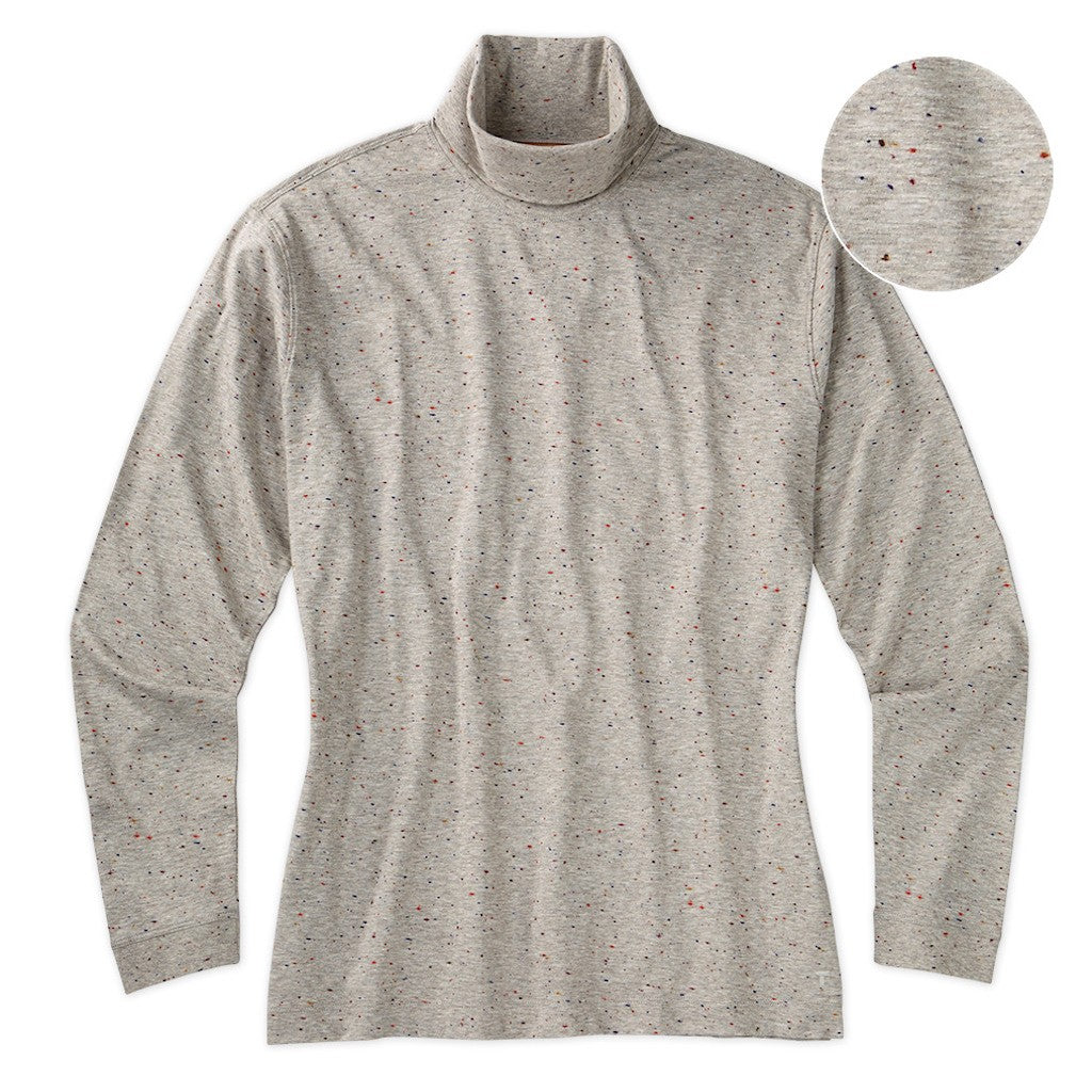 Left Coast Tee Men's Long Sleeve All Over Donegal Print Turtleneck Shirt
