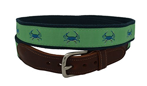 Epic Mens Blue Crab on Green Ribbon Belt