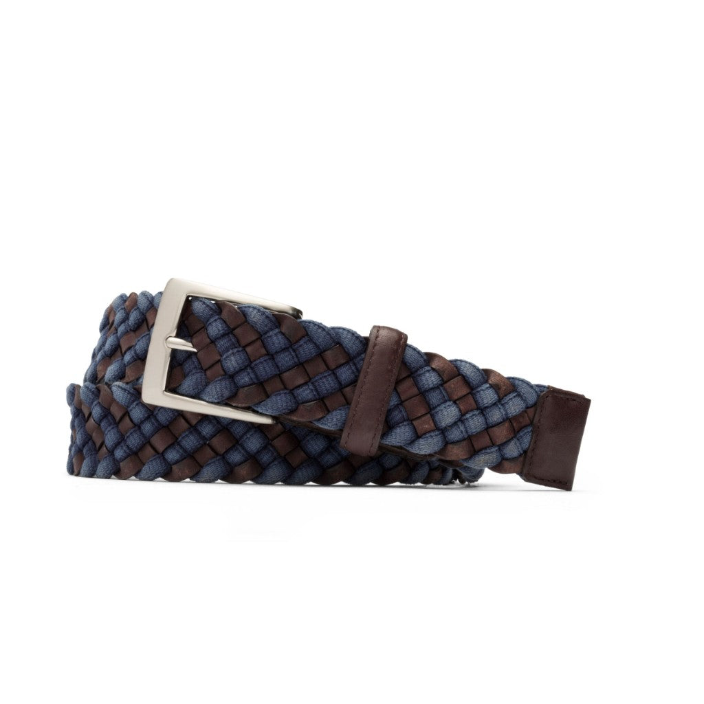 W. Kleinberg Men's Blue and Brown Leather and Cloth Braid with Brushed Nickel Buckle Belt