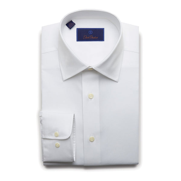 David Donahue Men's Regular Fit Super Fine Twill Dress Shirt, White