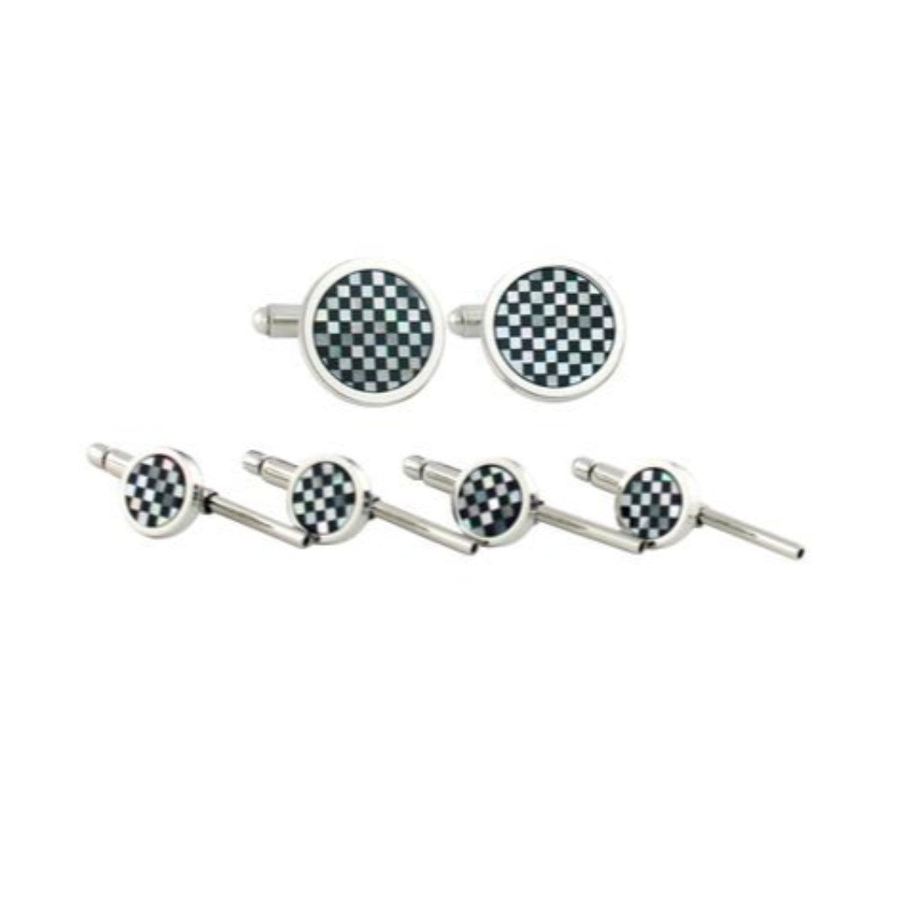 David Donahue Men's Sterling Silver Onyx & Mother of Pearl Checkerboard Stud Set (SS866602)