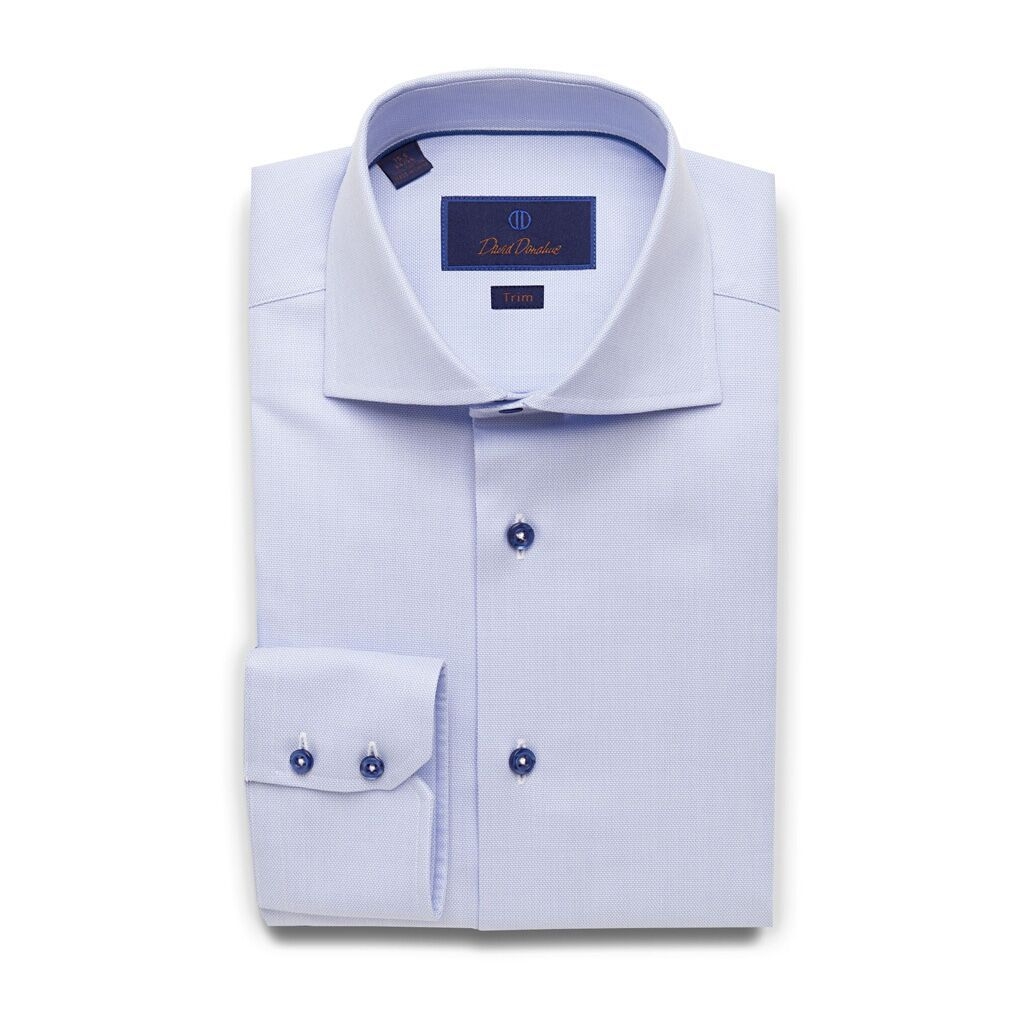 David Donahue Mens Trim Fit Long Sleeve Micro Textured Dobby Weave Dress Shirt