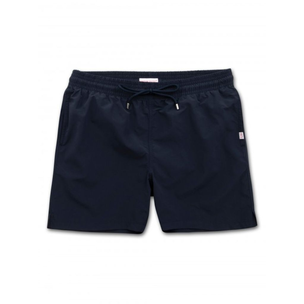 Derek Rose Mens Classic Fit Trunk Swim Shorts, Aruba 1 Navy
