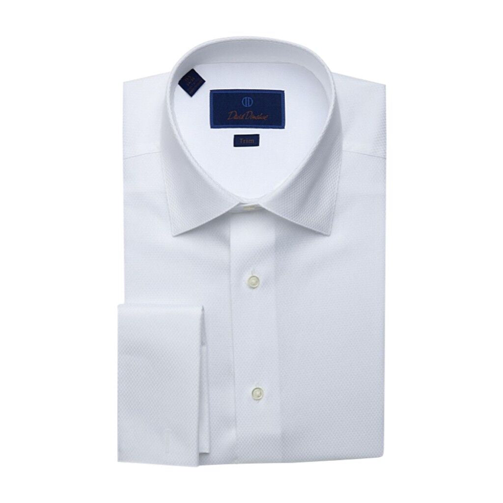 David Donahue Trim Fit Dobby Weave Solid Formal Tuxedo Shirt - White