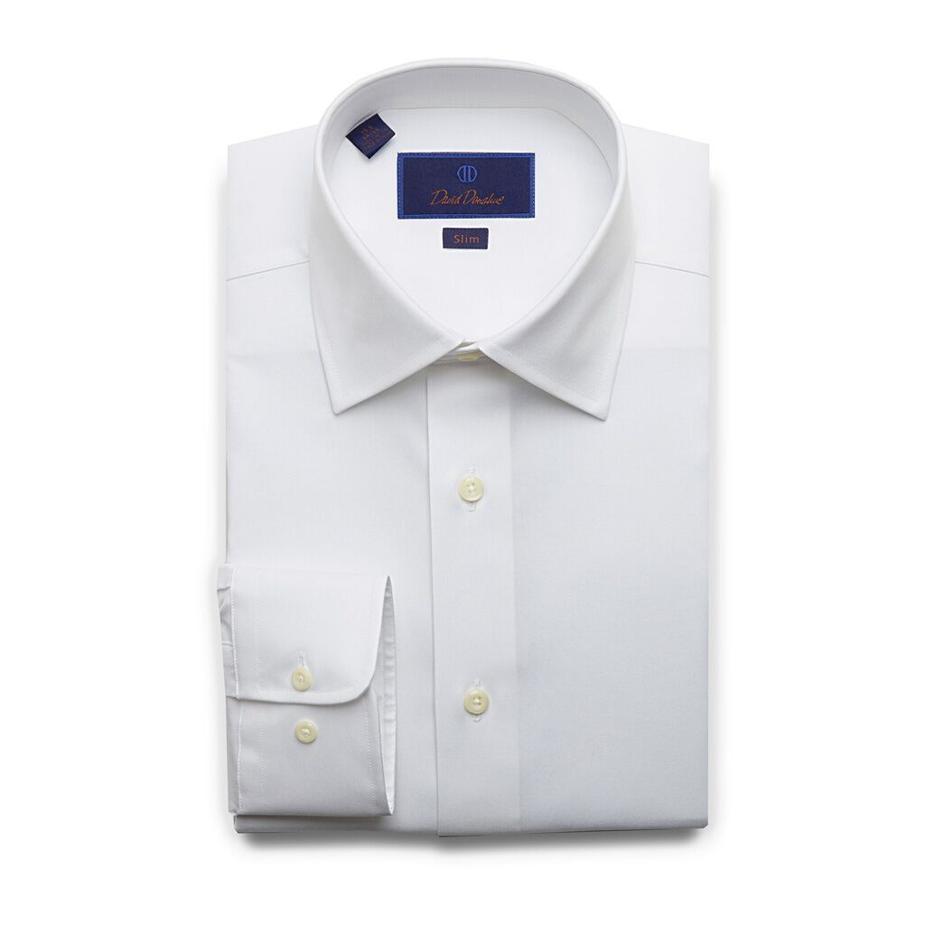 David Donahue Mens Slim Fit Long Sleeve Super Fine Twill White Button Dress Shirt