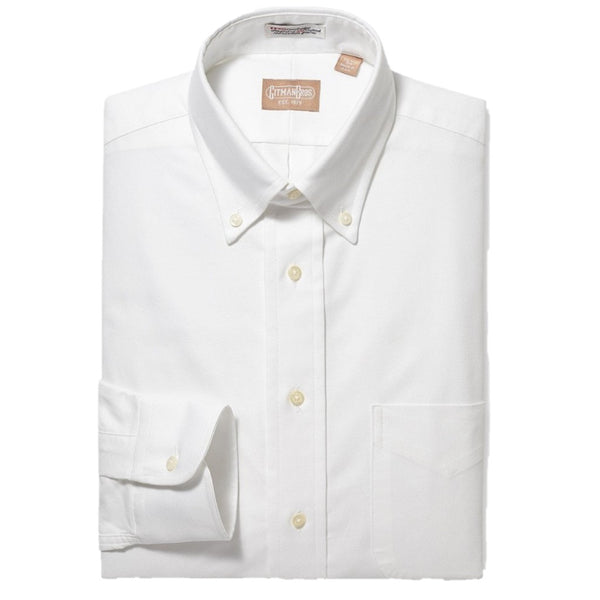Gitman Bros. Mens White Cambridge Oxford Button Down Dress Shirt